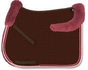 Square Saddle Pad With Lambskin Panels-personnalisable - Mattes